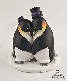 Penguins in Love Custom Wedding Cake Topper on Etsy, $108.24