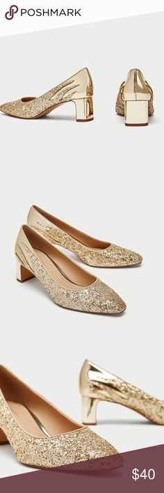 """ZARA GOLD GLITTER COURT SHOES Brand new and 100% authentic. Gold-mid heel shoes. Upper in the combination of finishes. Heels high 5cm=1.9"""". Fit size 6.5-7 Zara Shoes Heels"""