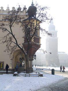 the marketplace Main_Market_Square in Cracow  (in Poland) :  Sukiennice and Town_Hall_Tower ; (PL) Sukiennice i Wieża_ratuszowa (pozostałość po ratuszu) na Rynku_Głównym w  Krakowie (2005-02-08)  See more in Large size - (PL) zobacz więcej w powiększeniu   Rate my photo: 1 2 3 4 5 6 7 8 9 10