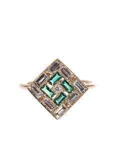 Sabine G - white diamond, emerald & white-gold ring