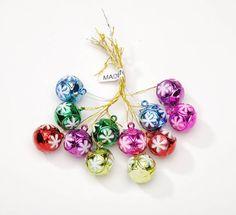 15mm Mini Plastic Christmas Ball Ornaments Snowflake Pattern Set of 12