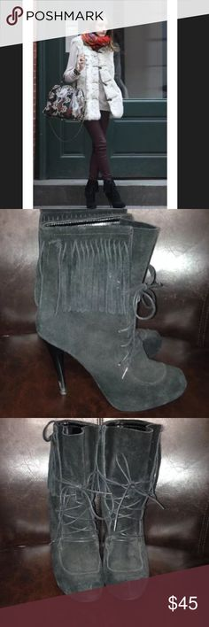 Bakers Flare Suede Boots Sz 6.5 a.s.o. Olivia Palermo. Used condition. Has I missing flare string. Soles show normal wear use. Hells has some wear to boots as well. Still very nice and has lots of more wear. Bakers Shoes Ankle Boots & Booties