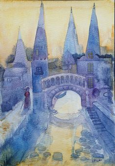 This original watercolour painting named On a pathway to town has come to life purely as an outcome of my imagination. A composition built with shades of blue, purple and ochre shows a mysterious fantasy town at dawn. A woman is walking along a tide towards domes and steeples which lighten up with the first rays of the rising sun. Is she heading to visit someone? A merchant? A tailor perhaps? I leave it to your own imagination to tell the story hidden behind this painting. *Please note: the…