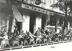 Mignon kávéház terasza, Duna korzó 1930 körül