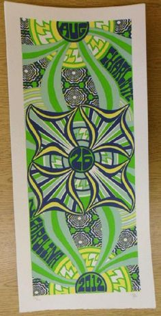 Original silkscreen concert poster for Phish on August 26th at The Verizon Wireless Amphitheatre in Atlanta, GA in 2012. It is printed on Watercolor Paper with Acrylic Inks and measures around 10 x 22 inches.  Print is signed and numbered out of only 200 by the artist Tripp.