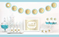Gold & Glitter Twinkle Twinkle Party Kit. Celebrate the arrival a new baby or a 1st birthday with our Twinkle Twinkle Party Kit. Each Kit includes Metallic Foil and Glittery Gold items such as banners, stickers and cupcake toppers for dressing up your dessert and candy buffet table.  Kit Includes: 1 Metallic Foil Scallop Banner spelling out TWINKLE as shown 1 Metallic Gold Table Sign printed with Twinkle Twinkle Little Star 25 Striped Straws 24 Cupcake Wrappers/Toppers with Metallic...