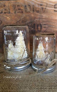 White Christmas Snow Globe | White bottle brush tree mason jar snow globe by loveinamasonjar