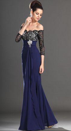 hermoso vestido para noche azul