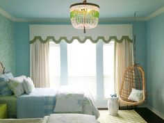 aqua green and white bedroom