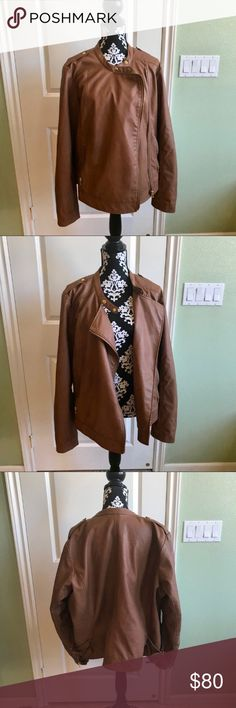 Lane Bryant Faux Leather Jacket Great preloved jacket. Worn once, no rips stains or tears. Lane Bryant Sz 22/24 Lane Bryant Jackets & Coats