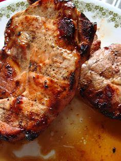 Dijon Grilled Pork Chops... 6 Tablespoons Dijon mustard  6 Tablespoons Brown Sugar  3 Tablespoons unsweetened applejuice (I used Motts for Totts)  3 Tablespoons Worcerstershire sauce  4 bone-in pork chops