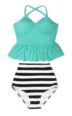 Mint Long Peplum Tankini Tankinis Top and Stripe by venderstore