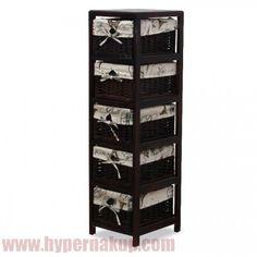 Komoda s 5 prútenými košíkmi v pevnom drevenom ráme, vhodná do bytu predsiene alebo iných miestností vhodná ako štýlový dizajnový bytový doplnok.Prevedenie tmavo hnedá,Materiál: tmavohnedé drevo / tmavohnedé prútie / béžová látka,Rozmery ŠxVxH: 28,5x104x33 cm.Hmotnosť: 33 kgKOŚÍKOVÁ KOMODA PREDAJ DOPRAVA ZADARMO ESHOP