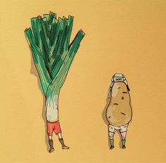 Recipe: Take 23 large leeks and 23 medium sized potatoes. Mix together for 6 weeks, discard one potato, then let stew for 8 months. Potato Leek Soup, Cute Drawings, Rugby, Cabins, Art For Kids, Potatoes, Illustration, Beautiful Drawings, Art For Toddlers