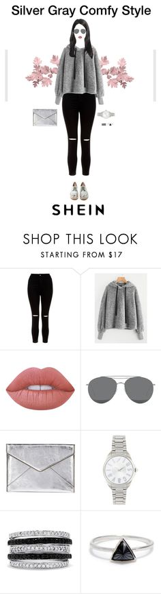 """Silver Grey Comfy Style ft SHEIN"" by nello-hope on Polyvore featuring New Look, Gentle Monster, Rebecca Minkoff, Just Cavalli, Effy Jewelry and Bing Bang"