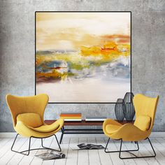 Grand Art abstrait et minimaliste blanc à la main peint