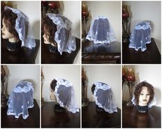 Medium Size Snow White Princess Style Church Prayer Veil  If you r looking for a larger size veil, please check my Etsy store. IT MEASURES AP: 20 - 22 INCHES ACROSS 14- 15 INCHES DOWN THE CENTER IT DRAPES BEAUTIFULLY AND IT IS DURABLE TO LAST YOU FOR A LONG - LONG TIME IF HANDLED WITH CARE. (HAND WASH)  WEARS WONDERFULLY  ~A CLASSIC LOOK WITH BEAUTIFUL FLOWERS~  ALL MANTILLA COMES FROM A SMOKE FREE - PET FREE ENVIRONMENT  I DO MY BEST TO LIST ITEMS AS ACCURATE AS POSSIBLE. IF YOU HAVE ?…
