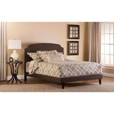 Lawler Queen Bed, Black/ Brown Fabric