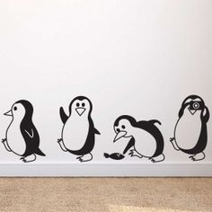 child room Cute Little Penguin Wall Decals Simple Wall Paintings, Creative Wall Painting, Wall Painting Decor, Art Diy, Diy Wall Art, Wall Murals Bedroom, Bedroom Decor, Bedroom Kids, Childs Bedroom
