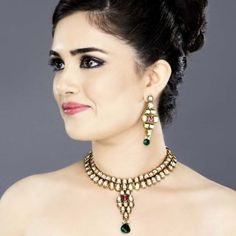 Featuring this Designer Kundan Necklace Set with Ruby Stone in our wide range of Sets. Grab yourself one. Now!