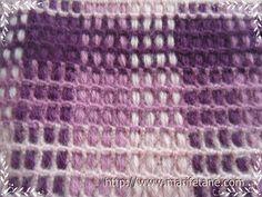 Açıklamalı Tığ İşi Ekose Dikdörtgen Şal Modeli crochet shawl pattern:http://www.marifetane.com/
