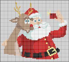 Christmas reindeer selfie x-stitch Cross Stitch Freebies, Cross Stitch Charts, Cross Stitch Designs, Cross Stitch Patterns, Cross Stitch Christmas Ornaments, Christmas Embroidery, Christmas Cross, Blackbird Designs, Cross Stitching