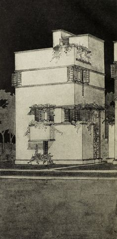"Small Town Hall (1912-1913) : Drawing from Frank Lloyd Wright's book ""Modern Architecture"" (1931) 