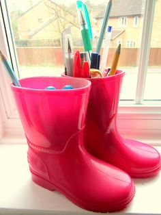 For those adorable little  boots you find on clearance, how fun! ---> USE as CRAYON BUCKETS :))