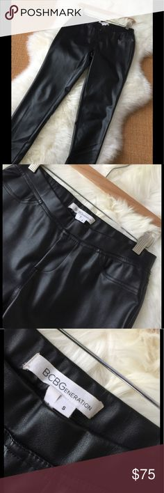 "Faux Leather Pull on Pant These faux leather skinny pants are fun to wear with a big bulky sweater or you can dress them up with a fancy top and stilettos for a girls night out or a holiday party. Like new condition.  They are a awesome substitution for the real thing. Bring them home today.. your closet will love you for it.  Bundle for my sellers special discount.  🛍🌸💝💕 Waist: 27"" Inseam: 28"" Care: Spot Clean NO Lining BCBG Pants Skinny"