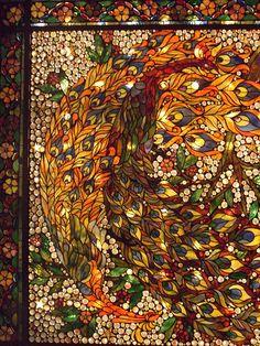 Peacocks painted light