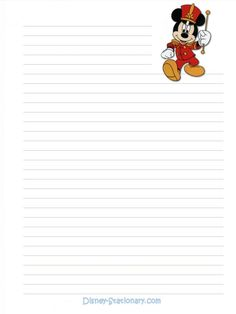 Gtre Linda Dugan Disney Character Lined Stationery Stationary Printable