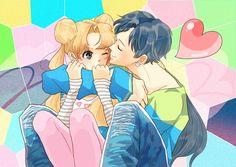 Sailor Moon - Seiya Kou x Usagi Tsukino - SeiUsa Arte Sailor Moon, Sailor Moon Stars, Sailor Moon Usagi, Sailor Uranus, Sailor Moon Crystal, Sailor Mars, Stars And Moon, Sailor Moon Background, Sailor Moon Drops