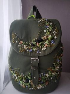 Items similar to Olive women backpack, embroidered olive backpack, embroidered olive backpack,mother's day gift on Etsy Embroidery Bags, Silk Ribbon Embroidery, Embroidery Designs, Machine Embroidery, Linen Bag, Ribbon Work, Sock Yarn, Backpacks, Washing Machine