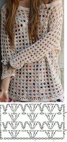 Blusa de crochê Sie Hausschuhe Diagramm Best Picture For knitting techniques twists For Your Taste You are looking for something, and it is going to tell you exactly what you are looking for, Pull Crochet, Gilet Crochet, Mode Crochet, Crochet Cardigan, Crochet Shawl, Diy Crochet, Crochet Top, Crochet Diagram, Crochet Motif