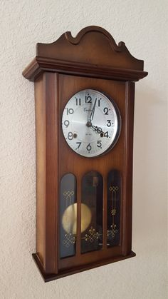 THANK YOU for stopping by our listings here on Etsy!  You are viewing a completely original, professionally restored, Centurion Chiming Parlor Wall Clock This clock has been professionally serviced by our own in-house master clockmaker and it is certified to as-new mechanical condition. It is in flawless working order. The original mechanical clockworks have been removed, rebuilt to as-new condition & then reinstalled in the original case. FEATURES  • Original 31 - day, key wind mechanical…