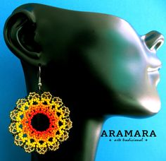 Boucles doreilles Mexique Huichol perlé jaune et Orange par Aramara