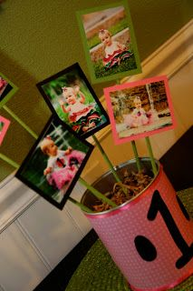 Formula can centerpiece with pictures of Olivia (month by month) from birth to 12 months!