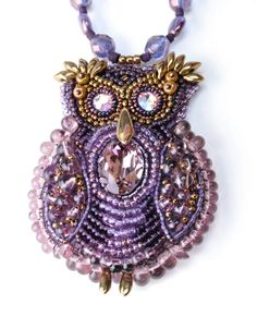 The Violet Owl  beadwoven necklace with crystals beads by DDeli, $70.00