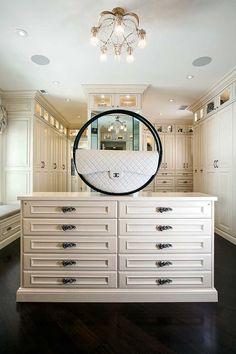 large custom designed closet in white on white
