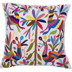 Multi-Colored Hand Embroidered Otomi Pillow Cover (20 x 20)