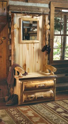 Antler Furniture And Accessories: Log Hall Tree With Antlers|Camo Trading