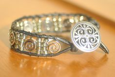 Women's Black Leather and Silver Wrap Bracelet by PlethoraGifts, $18.00