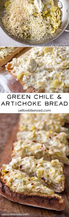 Green Chile  Artichoke Bread - a delicious appetizer and perfect for your next party from @Kristin Bergthold | Yellow Bliss Road