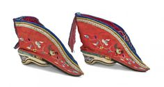 Pair of Chinese Embroidered Shoes for Bound Feet.