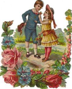 Victorian Die Cut Scrap Boy & Girl in Rose Garden c1880
