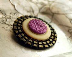 Vintage Button Brooch, Lavender Lattice Celluloid Button Jewelry Purple Brown. $26.00, via Etsy.