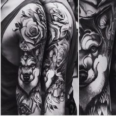 Wolf and rose sleeve