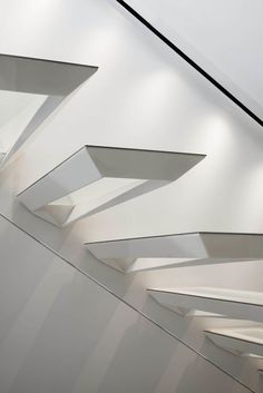 Modern Stair Design Idea - These stairs were inspired by the Japanese art form of paper folding. Painted Staircases, Painted Stairs, Stairs Architecture, Architecture Design, Staircase Design, Stair Design, Cantilever Stairs, Timber Stair, Stair Art