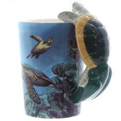 Tazza boccale mug animali ceramica manico tartaruga mare