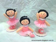 Trio de bailarinas de feltro